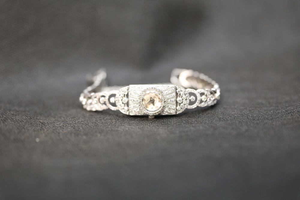Lady Elgin Platinum Diamond Art Deco Evening Watch
