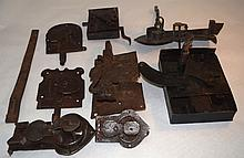 8 18/19thC Hand Forged Iron Keyed Gate Latches