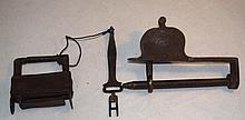 2 19th Century Forged Iron Cabinet Locks w Keys