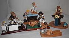 6 Large Veterinarian Sculptures w 3 Monkey Vets