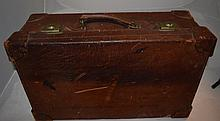 Antique Leather Suitcase Brass Rivets Linen inter
