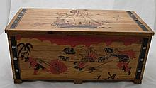 1960's Wooden Toy Chest w/ Painted Pirate Motif