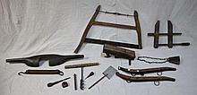 19thC Carpenter Hand Tools & Primitive Farm Items