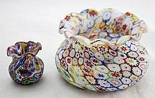 2 Murano Scalloped Edge Millefiori Cane Glass Bowl