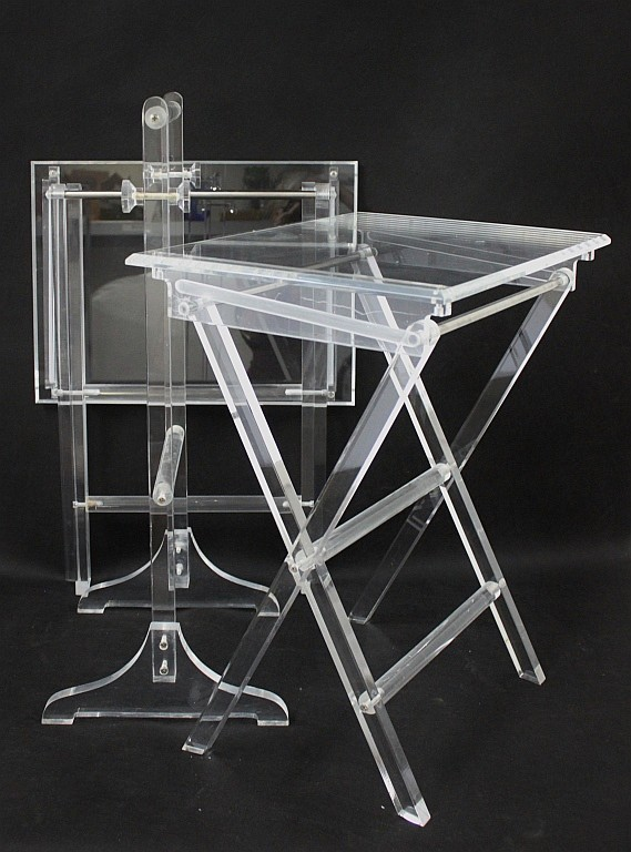 Pair Of Lucite Folding Tv Trays Tray Stand