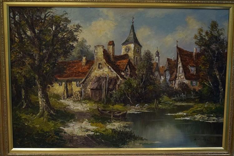 Ernst Jugel b1913 German Village & Stream Painting