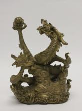 Antique Chinese Bronze Dragon Holding Pearl Figure