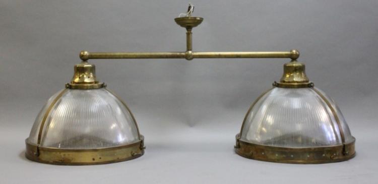 Antique Clemson Double Dome Brass Ceiling Light