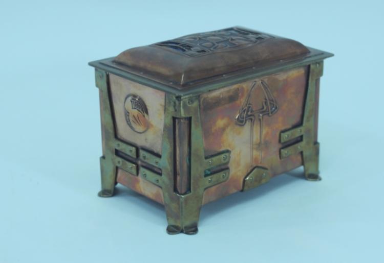 Austrian Art Nouveau Enameled Copper & Brass Box