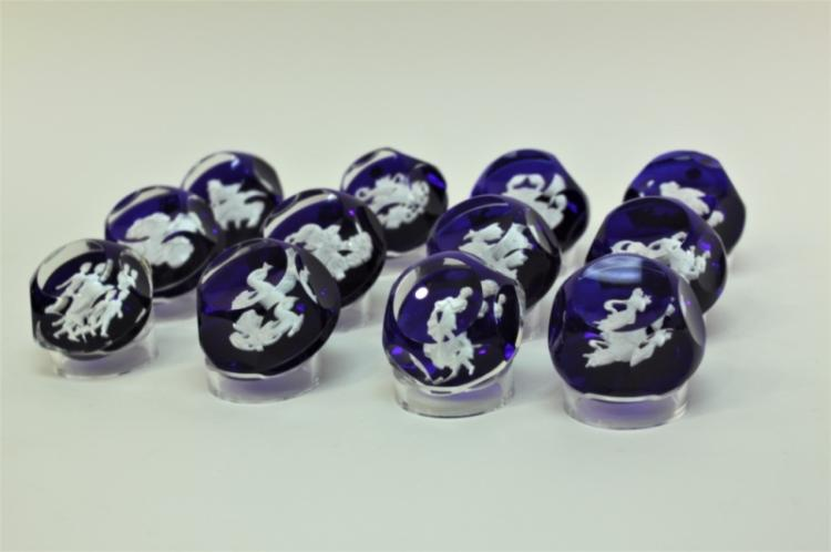 (12) Baccarat Zodiac Sulfide Paperweights