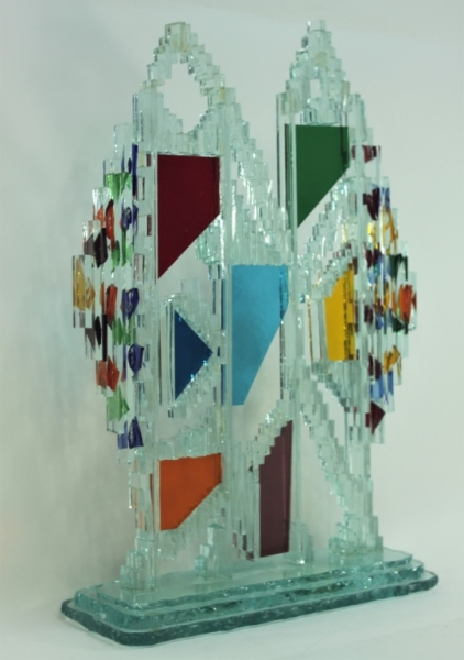 Regis Vintage Brutalist Glass Twin Tower Sculpture