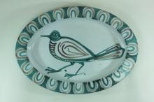 Picault French Vallauris Pottery Platter w Bird