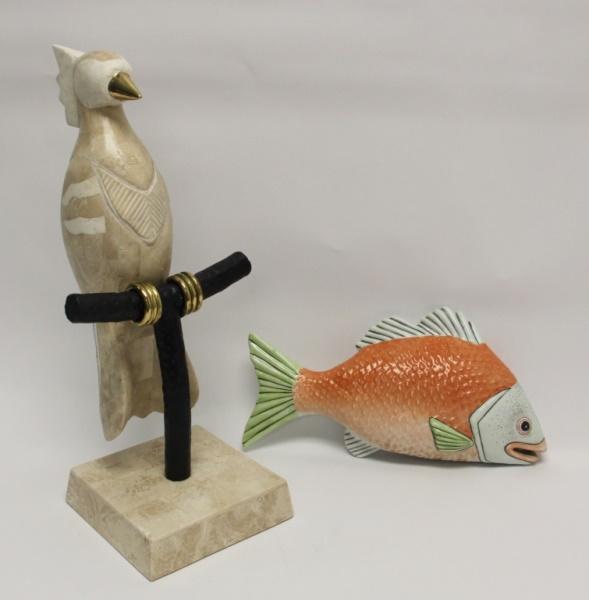 Maitland Smith Cockatoo on Perch & Porcelain Fish
