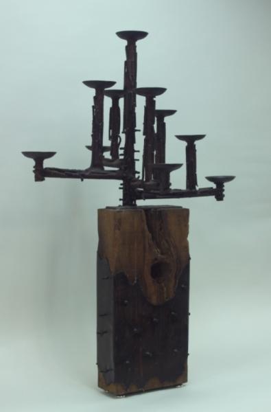 60's Brutalist Iron & Wood (9) Pricket Candelabra