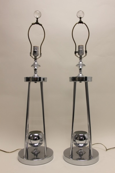 Pair MCM Chrome Table Lamps by Torino Designs