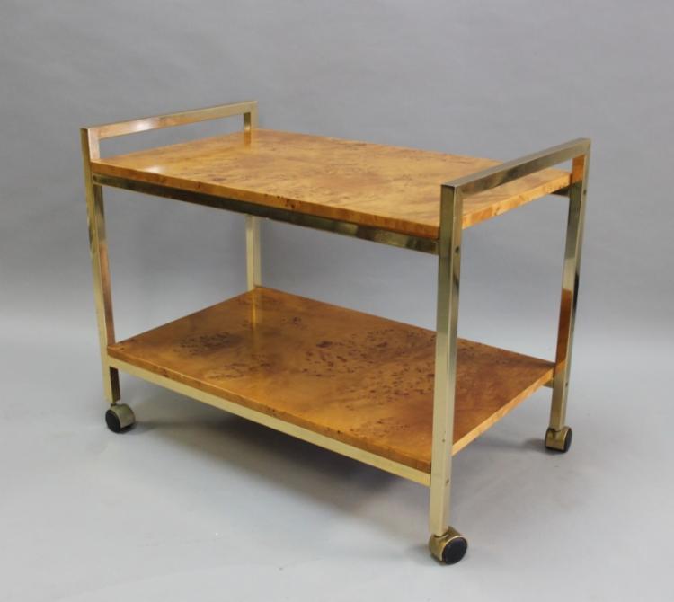 MCM Milo Baughman Burl Wood & Brass Bar Cart