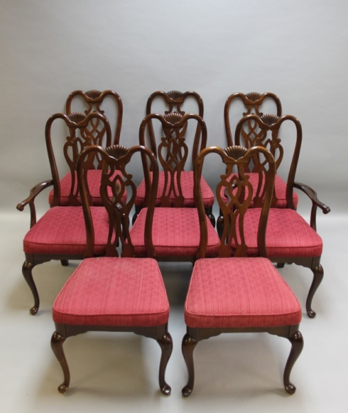 (8) Vintage Queen Anne Mahogany Dining Chairs