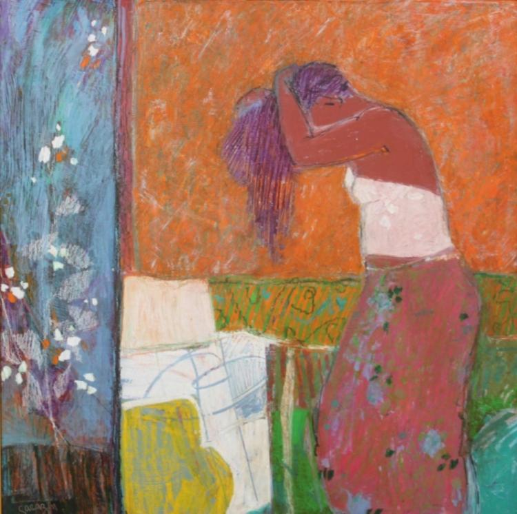 (2) Michel Sarazin (b 1942) Oil Pastel Paintings