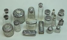 (18) Antique Sterling Lidded Crystal Dresser Jars