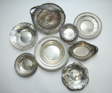 (8)pc Sterling Silver Hollowware w Plates & Basket