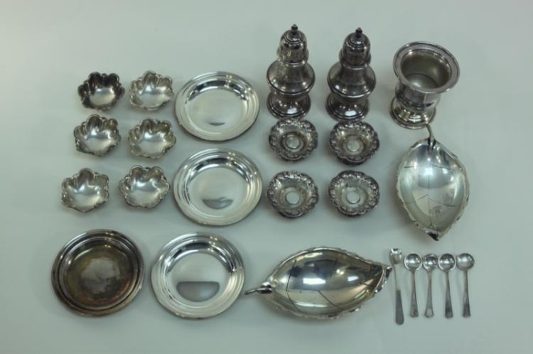 (24)Sterling Silver Ash Trays, Salts & Spoons