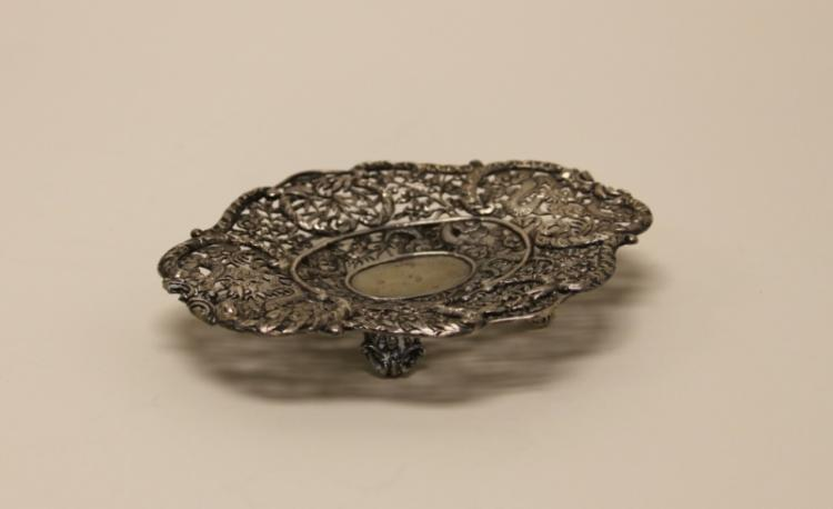 Antique Chinese Sterling Dragon Bamboo Cherry Tray
