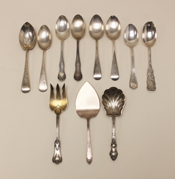(11)pcs Antique Sterling Serving Spoons & Servers