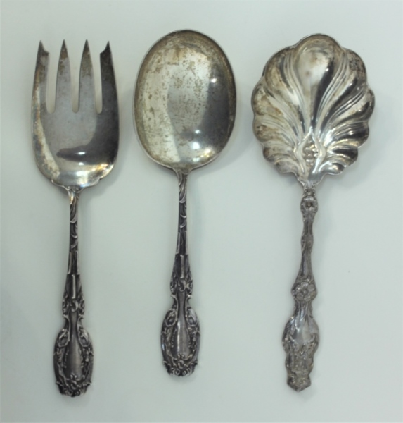 (3)Whiting Lilly & Cattail Sterling Serving Spoons
