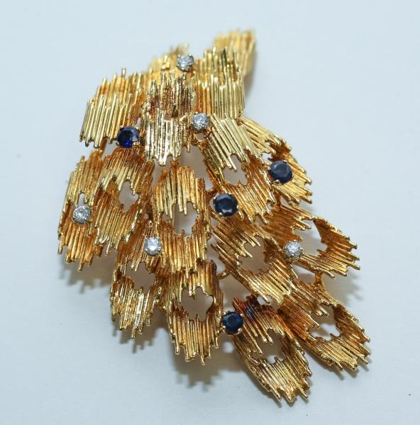 Brutalist 14K Gold Brooch w/ Diamonds & Sapphires