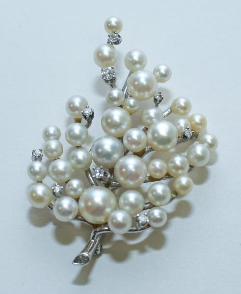 14K White Gold, Diamond & Pearl Tree Form Brooch