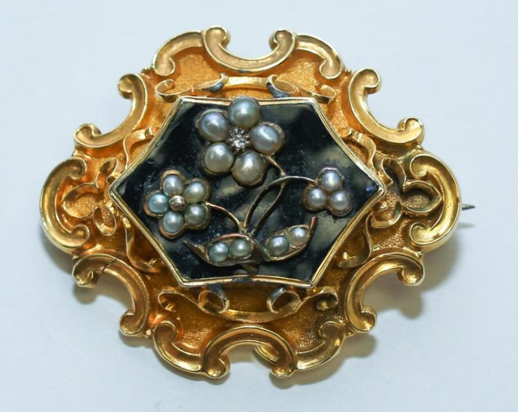 1843 14K Gold Pearl & Diamond Mourning Brooch