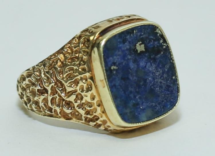 Antique Russian Lapis, 14K Gold Nugget Ladies Ring