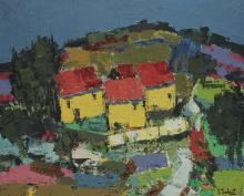 Taubert (French) Oil on Canvas French Hillside