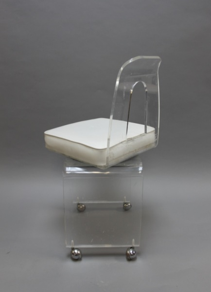 Mcm Vintage Lucite Vanity Swivel Chair On Casters