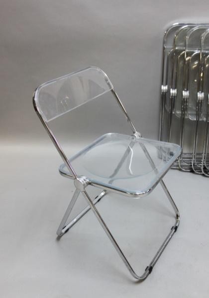 8 MCM Castelli Lucite & Chrome Folding Chairs