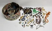 Hat Box Full of Vintage Costume Jewelry, Watches, Purses, etc.