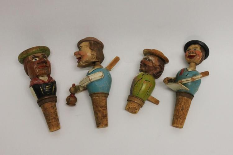 4 Black Forest Kinetic Puppet Character Wine Corks