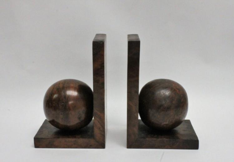 Art Deco Solid Burl Maple Bookends