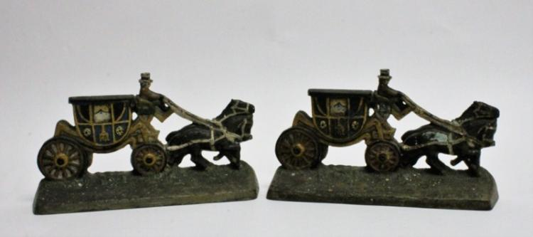 Pair of 19th C Horse Drawn Carriage Book Ends