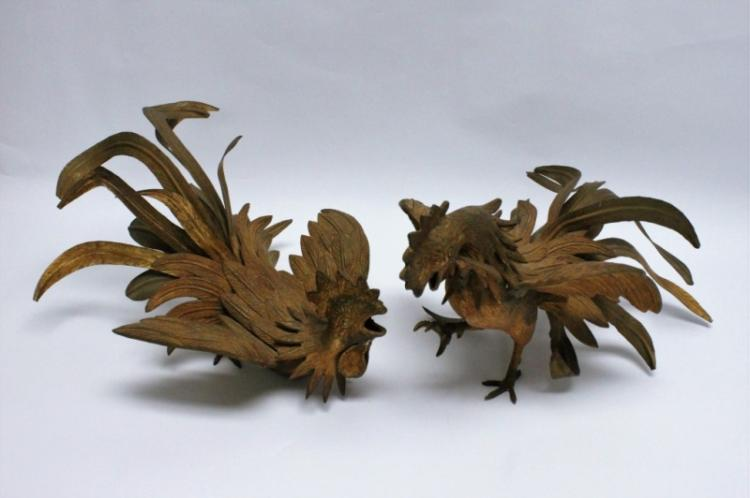 Pair Gilt Metal Fighting Roosters Melani Mario
