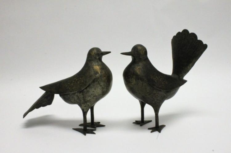 2- Persian Gold Painted Wrought Iron Birds