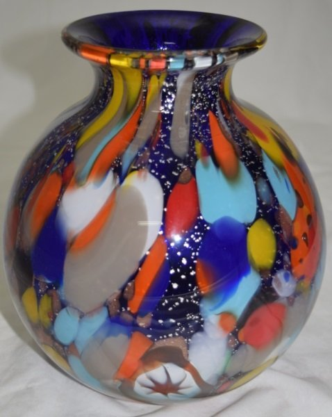Murano Glass Vase Cobalt Cased Multicolors & Gold
