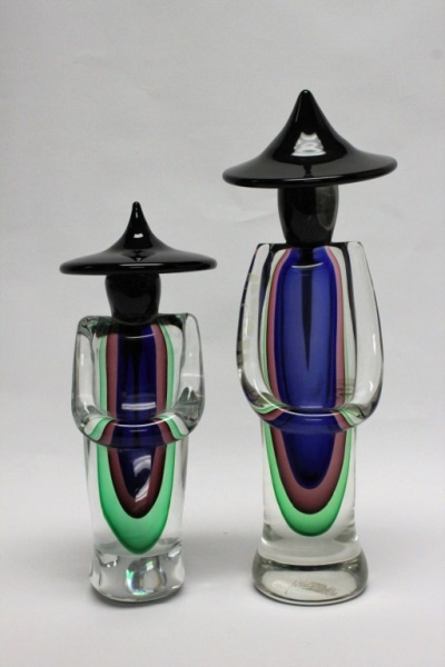 (2) Murano Glass Oriental Figures
