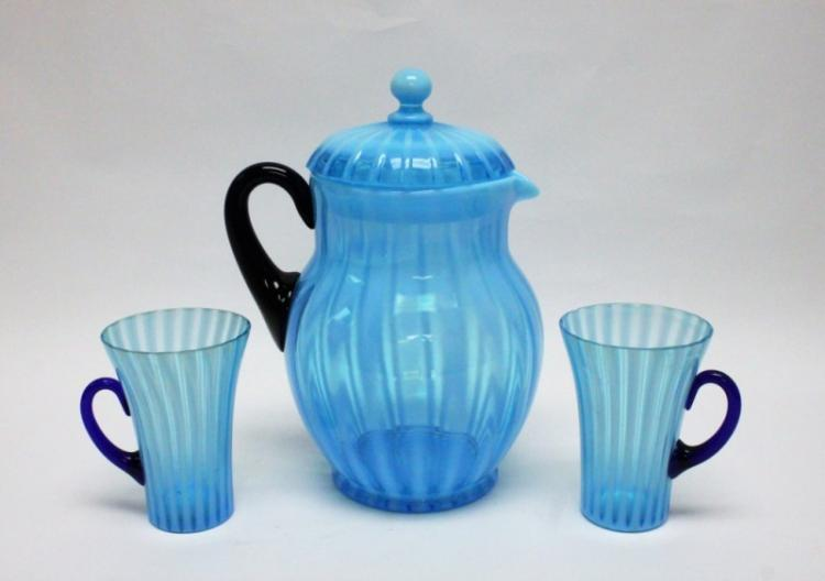 3pc Victorian Glass Iced Tea Pitcher w Cups