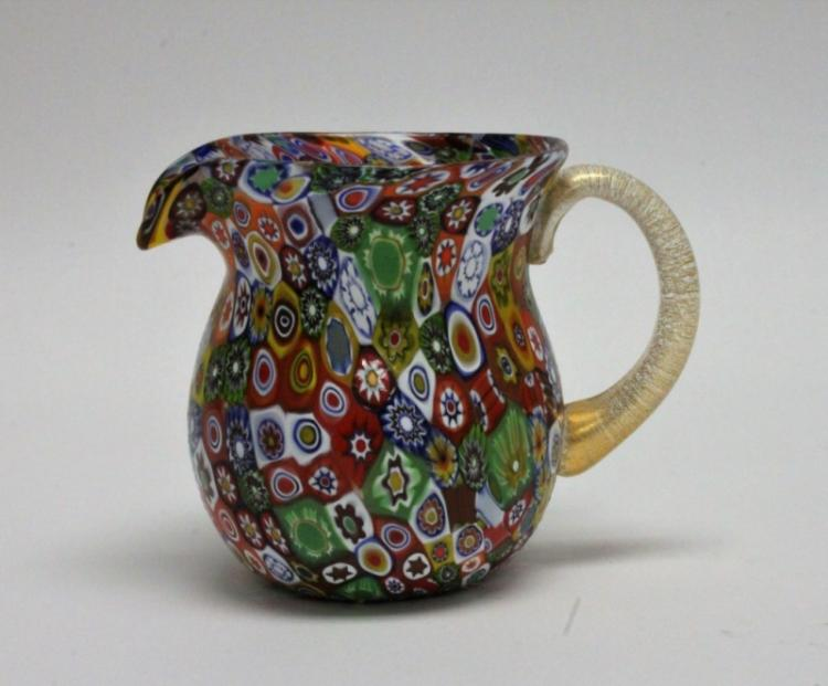 50's Millefiori Murano Gold Handled Glass Pitcher