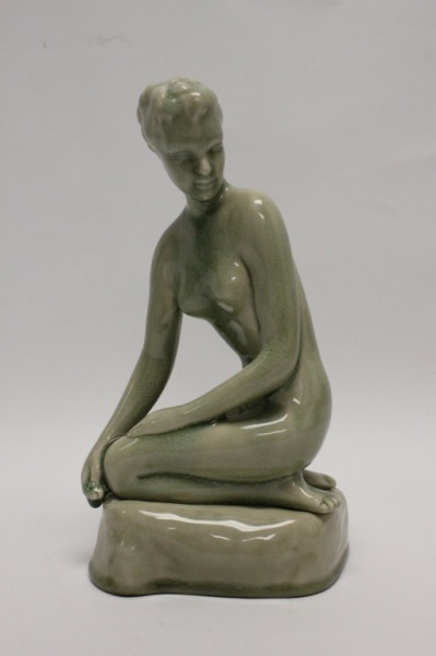 Art Deco Thai Celadon Terracotta Nude Figure