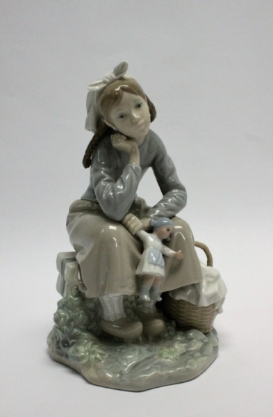 2Lladro Porcelain Figurine 'Girl w/ Doll & Basket'