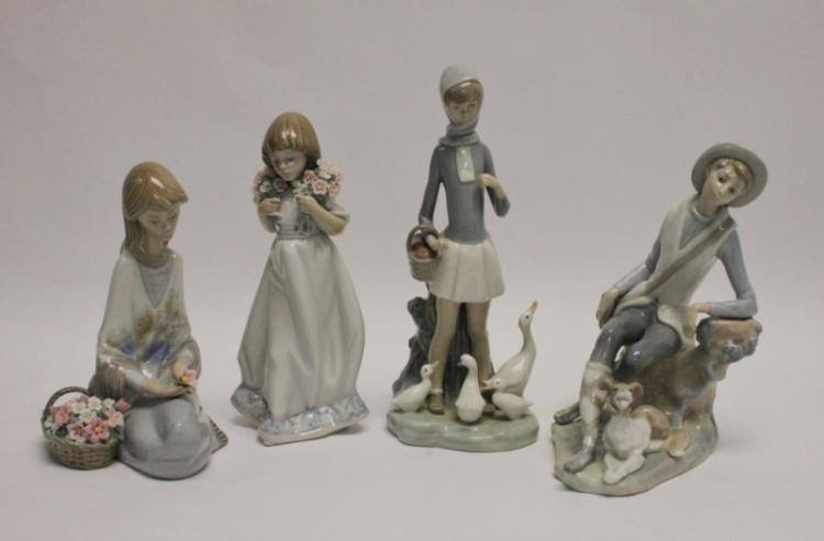 (4)Lladro Pcs Goose Girl, Flower Girls & Boy w Dog