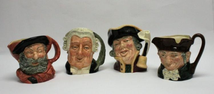 (4) Large Royal Doulton Porcelain Figural Steins