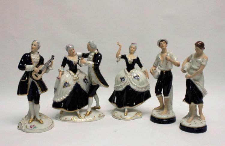 5 Royal Dux Figurines Musician, Dancers & Servants